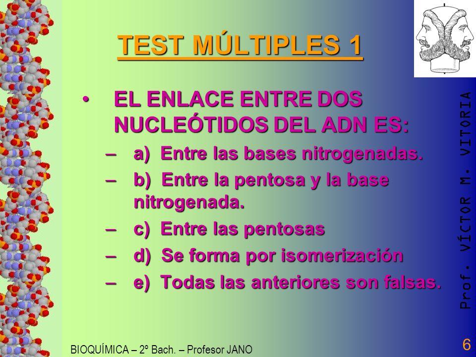 Prof. VÍCTOR M. VITORIA BIOQUÍMICA – 2º Bach. – Profesor JANO 6 TEST MÚLTIPLES 1 EL ENLACE ENTRE DOS NUCLEÓTIDOS DEL ADN ES:EL ENLACE ENTRE DOS NUCLEÓ