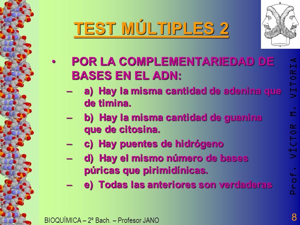 Prof. VÍCTOR M. VITORIA BIOQUÍMICA – 2º Bach. – Profesor JANO 8 TEST MÚLTIPLES 2 POR LA COMPLEMENTARIEDAD DE BASES EN EL ADN:POR LA COMPLEMENTARIEDAD