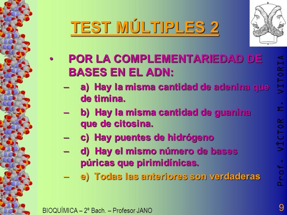 Prof. VÍCTOR M. VITORIA BIOQUÍMICA – 2º Bach. – Profesor JANO 9 TEST MÚLTIPLES 2 POR LA COMPLEMENTARIEDAD DE BASES EN EL ADN:POR LA COMPLEMENTARIEDAD