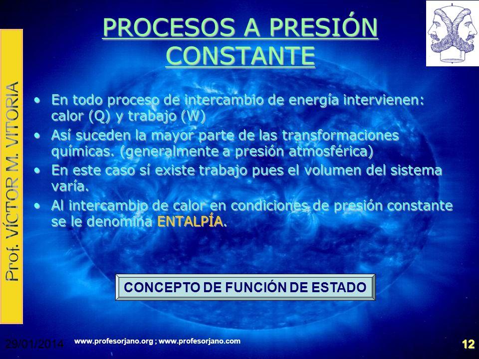 www.profesorjano.org ; www.profesorjano.com 29/01/201412 PROCESOS A PRESIÓN CONSTANTE En todo proceso de intercambio de energía intervienen: calor (Q)