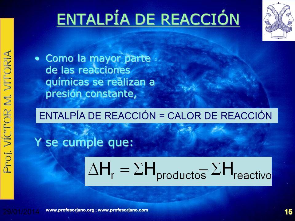www.profesorjano.org ; www.profesorjano.com 29/01/201415 ENTALPÍA DE REACCIÓN Como la mayor parte de las reacciones químicas se realizan a presión con