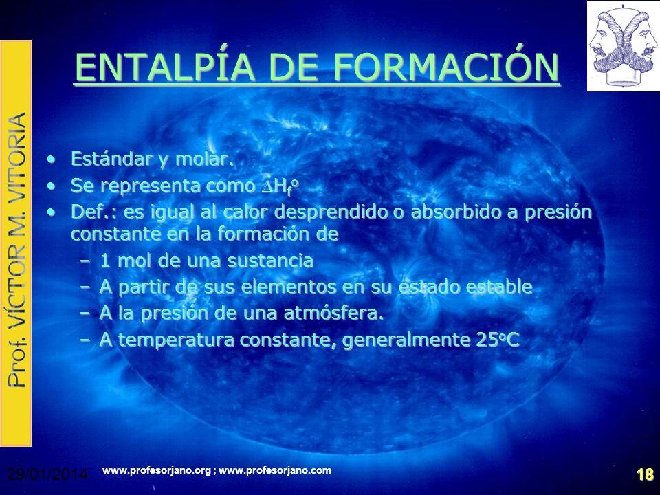www.profesorjano.org ; www.profesorjano.com 29/01/201418 ENTALPÍA DE FORMACIÓN Estándar y molar.Estándar y molar. Se representa como H f oSe represent