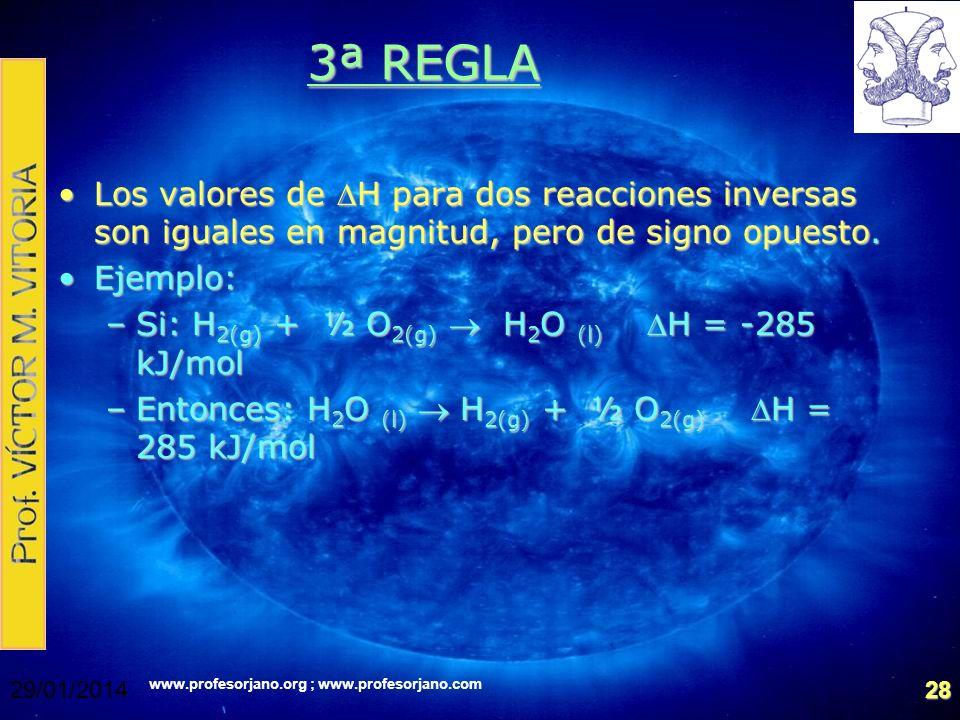 www.profesorjano.org ; www.profesorjano.com 29/01/201428 3ª REGLA Los valores de H para dos reacciones inversas son iguales en magnitud, pero de signo