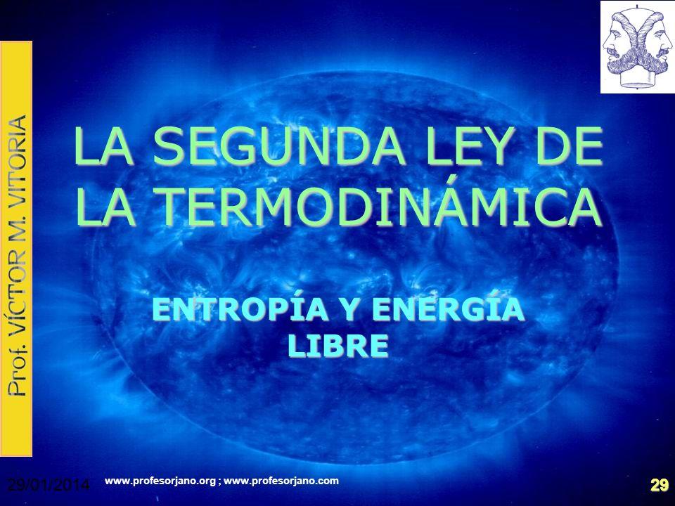 www.profesorjano.org ; www.profesorjano.com 29/01/201429 LA SEGUNDA LEY DE LA TERMODINÁMICA ENTROPÍA Y ENERGÍA LIBRE