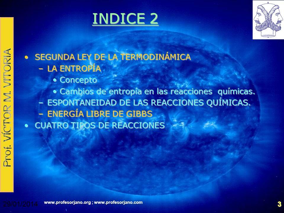www.profesorjano.org ; www.profesorjano.com 29/01/20143 INDICE 2 SEGUNDA LEY DE LA TERMODINÁMICASEGUNDA LEY DE LA TERMODINÁMICA –LA ENTROPÍA ConceptoC