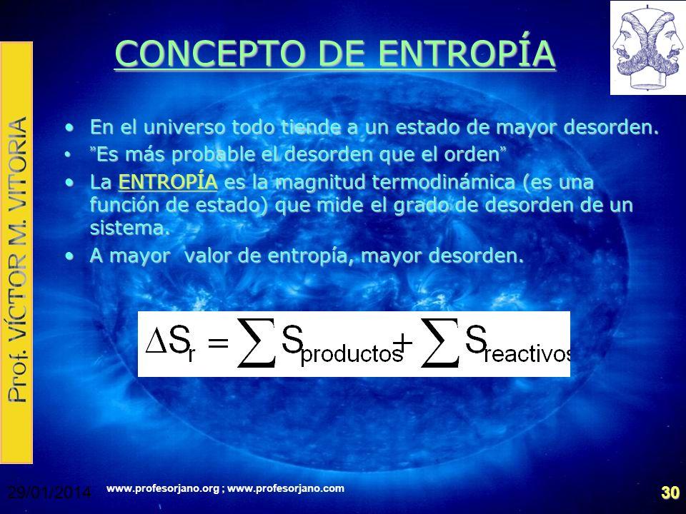 www.profesorjano.org ; www.profesorjano.com 29/01/201430 CONCEPTO DE ENTROPÍA En el universo todo tiende a un estado de mayor desorden.En el universo