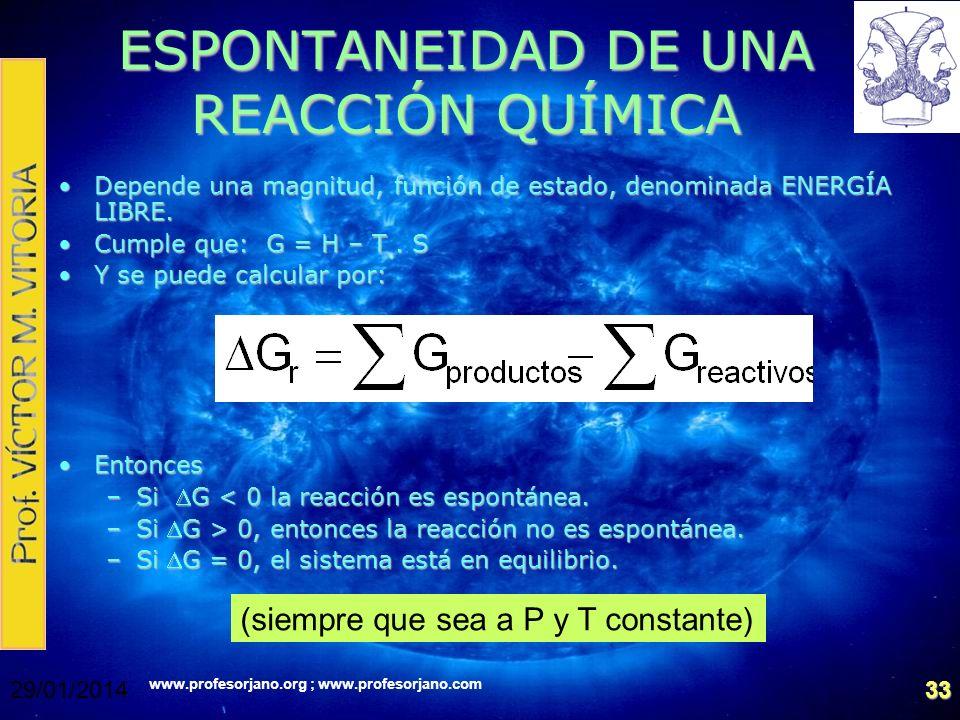 www.profesorjano.org ; www.profesorjano.com 29/01/201433 ESPONTANEIDAD DE UNA REACCIÓN QUÍMICA Depende una magnitud, función de estado, denominada ENE