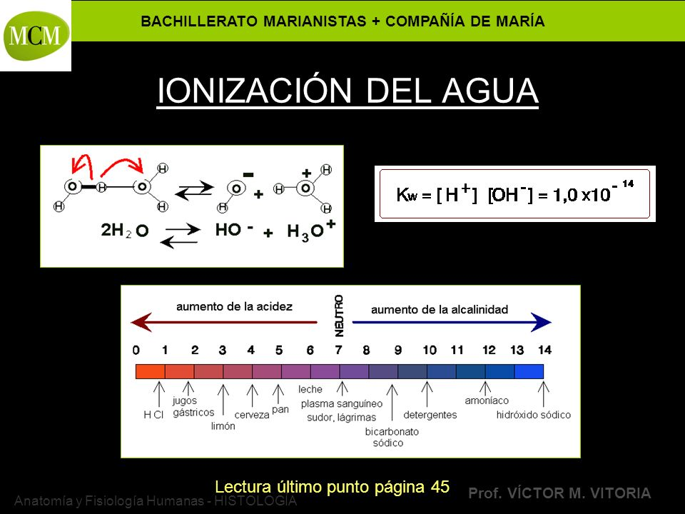 BACHILLERATO MARIANISTAS + COMPAÑÍA DE MARÍA Prof. VÍCTOR M. VITORIA Anatomía y Fisiología Humanas - HISTOLOGÍA IONIZACIÓN DEL AGUA Lectura último pun