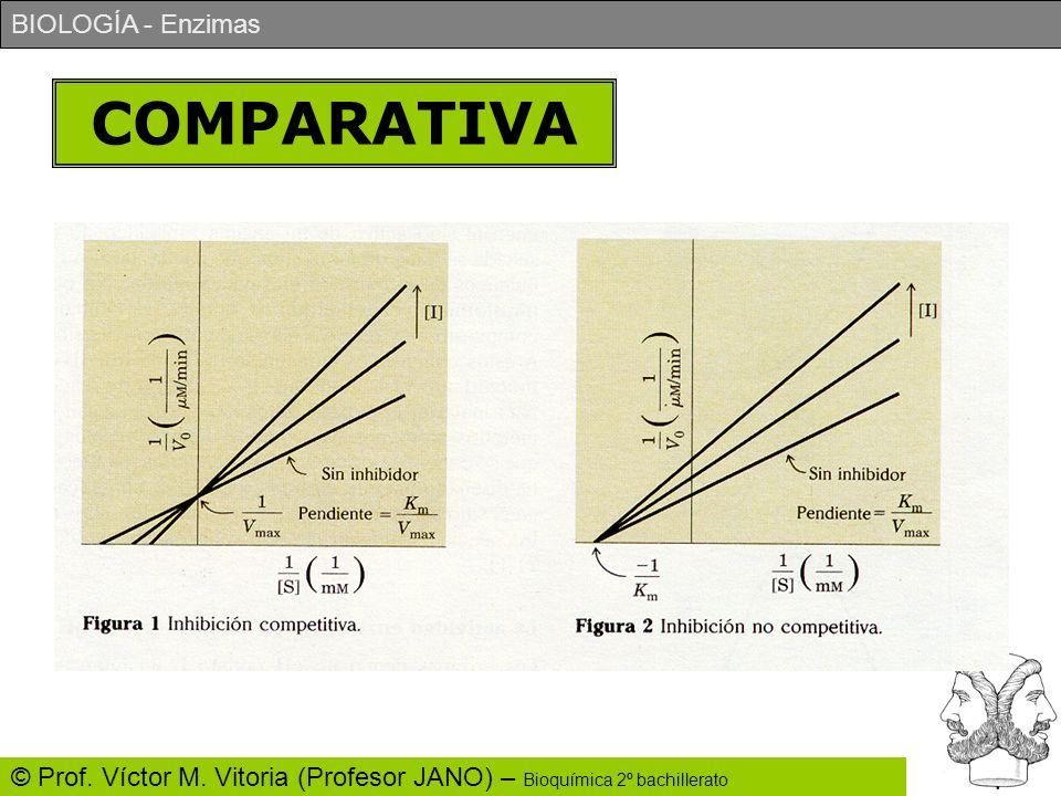 BIOLOGÍA - Enzimas © Prof. Víctor M. Vitoria (Profesor JANO) – Bioquímica 2º bachillerato COMPARATIVA