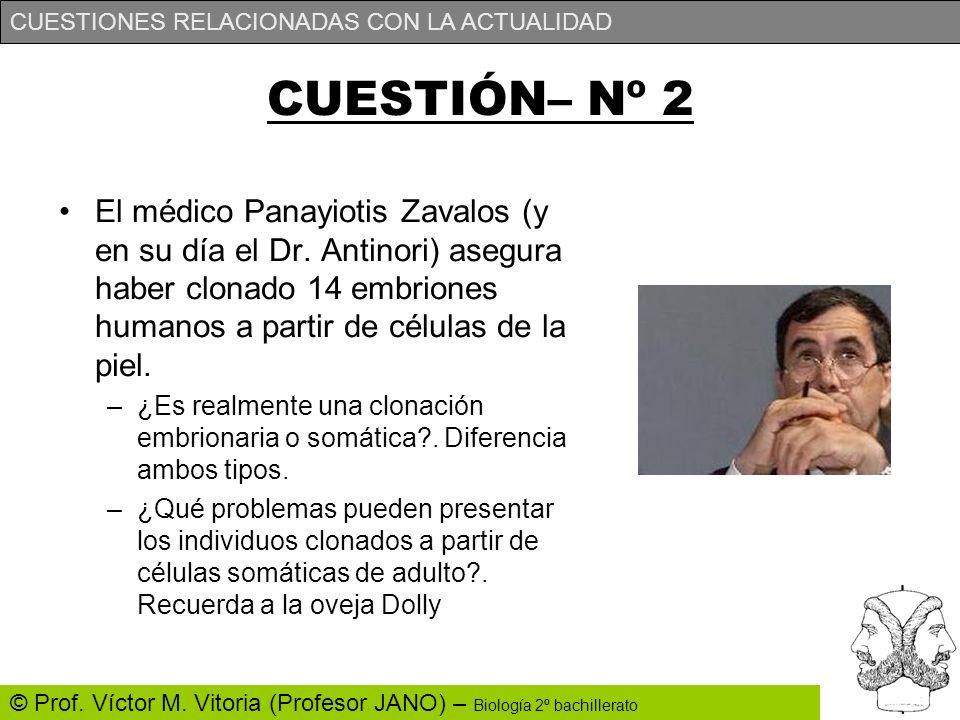 CUESTIONES RELACIONADAS CON LA ACTUALIDAD © Prof. Víctor M. Vitoria (Profesor JANO) – Biología 2º bachillerato CUESTIÓN– Nº 2 El médico Panayiotis Zav