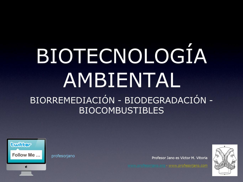 BIOTECNOLOGÍA AMBIENTAL BIOTECNOLOGÍA Procesos mediados por microorganismo para conservar el medio ambiente BIORREMEDIACIÓN BIODEGRADACIÓN Eliminación de sustancias contaminantes Degradación de materiales Profesor Jano es Víctor M.