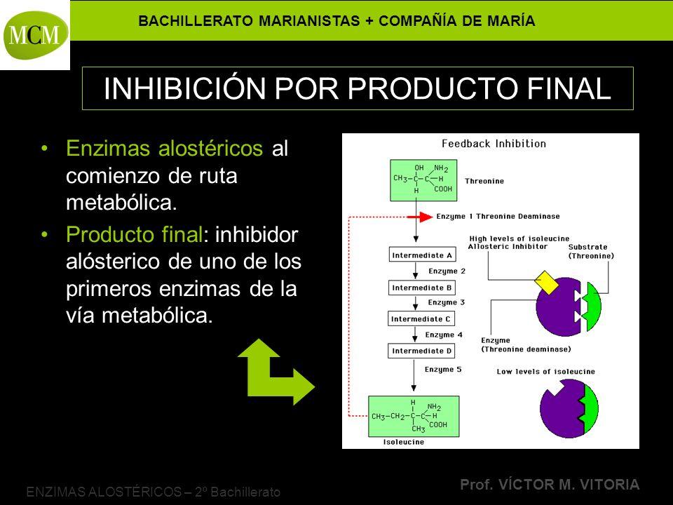 BACHILLERATO MARIANISTAS + COMPAÑÍA DE MARÍA Prof. VÍCTOR M. VITORIA ENZIMAS ALOSTÉRICOS – 2º Bachillerato INHIBICIÓN POR PRODUCTO FINAL Enzimas alost