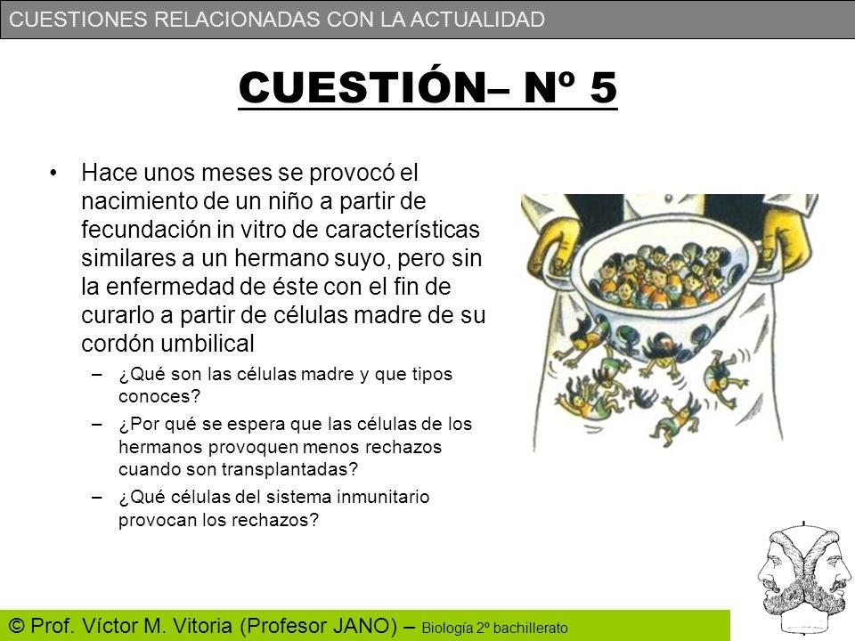 CUESTIONES RELACIONADAS CON LA ACTUALIDAD © Prof. Víctor M. Vitoria (Profesor JANO) – Biología 2º bachillerato CUESTIÓN– Nº 5 Hace unos meses se provo