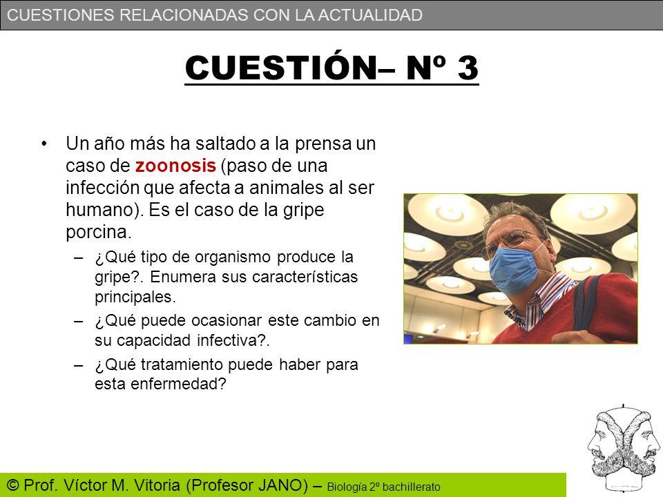 CUESTIONES RELACIONADAS CON LA ACTUALIDAD © Prof. Víctor M. Vitoria (Profesor JANO) – Biología 2º bachillerato CUESTIÓN– Nº 3 Un año más ha saltado a