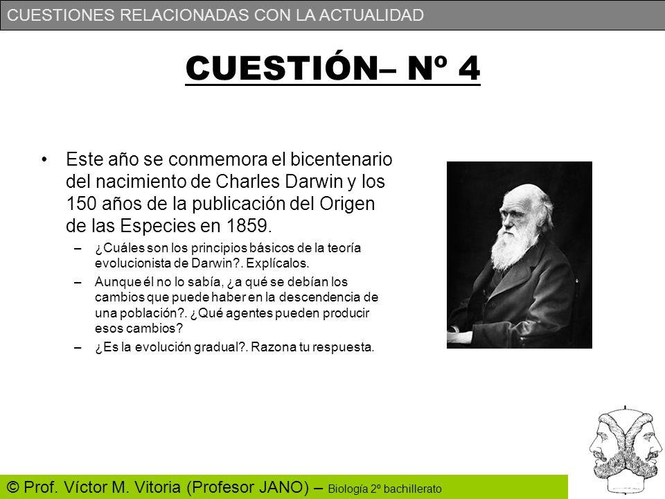 CUESTIONES RELACIONADAS CON LA ACTUALIDAD © Prof. Víctor M. Vitoria (Profesor JANO) – Biología 2º bachillerato CUESTIÓN– Nº 4 Este año se conmemora el