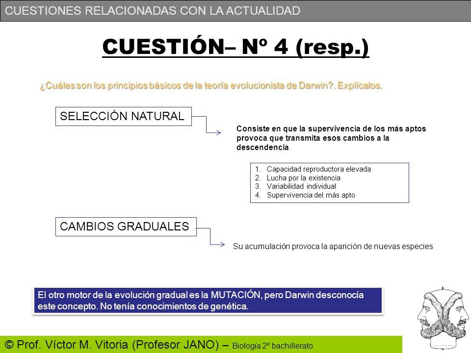 CUESTIONES RELACIONADAS CON LA ACTUALIDAD © Prof. Víctor M. Vitoria (Profesor JANO) – Biología 2º bachillerato ¿Cuáles son los principios básicos de l