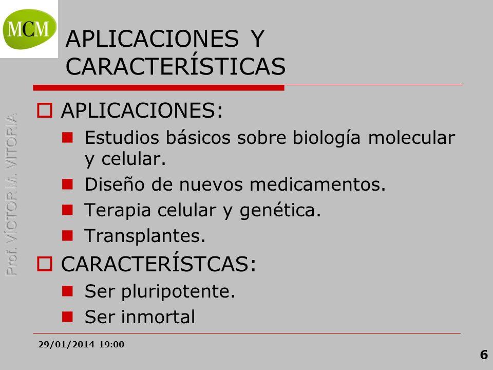 29/01/2014 19:02 6 APLICACIONES Y CARACTERÍSTICAS APLICACIONES: Estudios básicos sobre biología molecular y celular. Diseño de nuevos medicamentos. Te