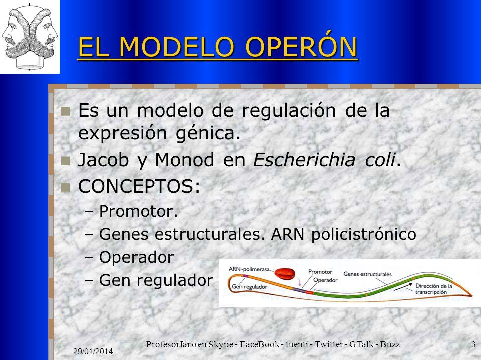 ProfesorJano en Skype - FaceBook - tuenti - Twitter - GTalk - Buzz3 29/01/2014 EL MODELO OPERÓN Es un modelo de regulación de la expresión génica. Jac