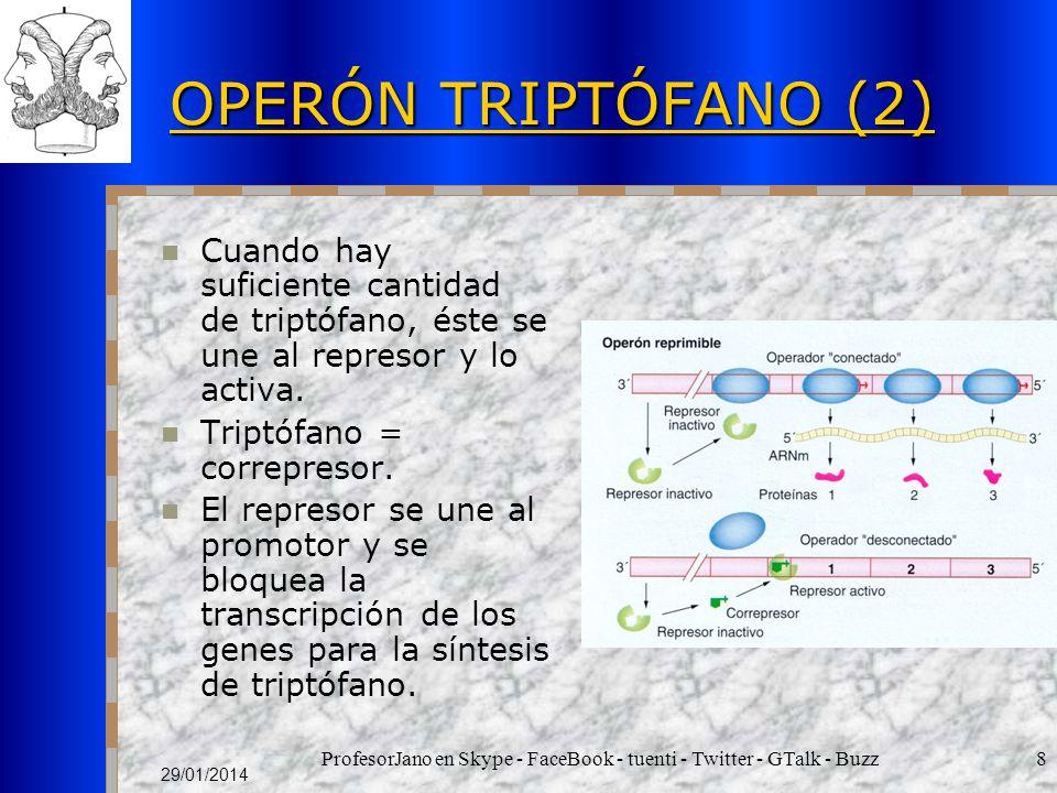 ProfesorJano en Skype - FaceBook - tuenti - Twitter - GTalk - Buzz8 29/01/2014 OPERÓN TRIPTÓFANO (2) Cuando hay suficiente cantidad de triptófano, éste se une al represor y lo activa.