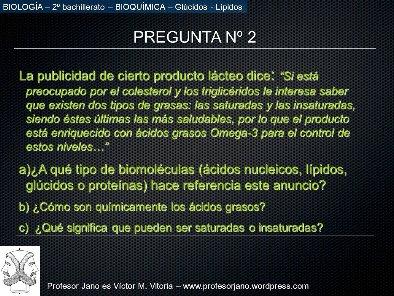Profesor Jano es Víctor M. Vitoria – www.profesorjano.wordpress.com BIOLOGÍA – 2º bachillerato – BIOQUÍMICA – Glúcidos - Lípidos PREGUNTA Nº 2 La publ