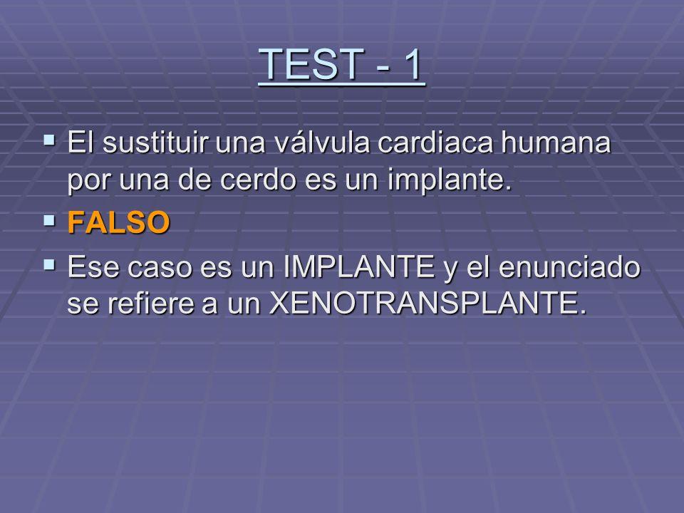 TEST - 1 El sustituir una válvula cardiaca humana por una de cerdo es un implante. El sustituir una válvula cardiaca humana por una de cerdo es un imp