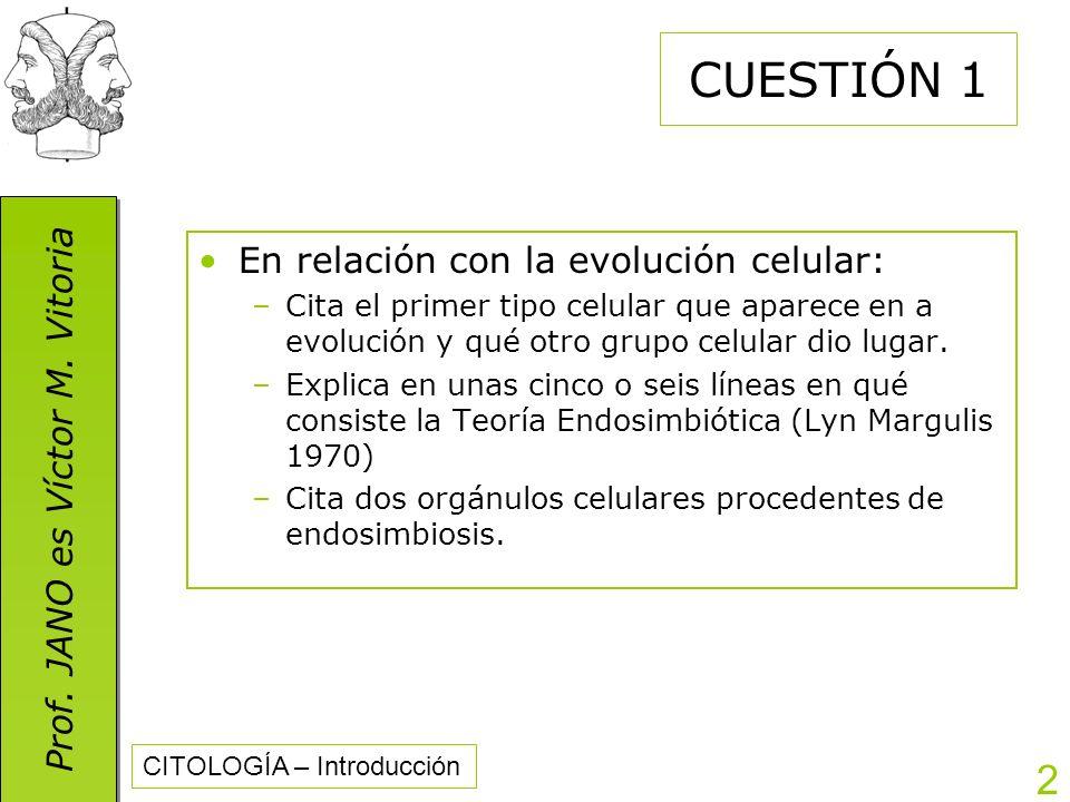 Prof. JANO es Víctor M. Vitoria CITOLOGÍA – Introducción 2 CUESTIÓN 1 En relación con la evolución celular: –Cita el primer tipo celular que aparece e