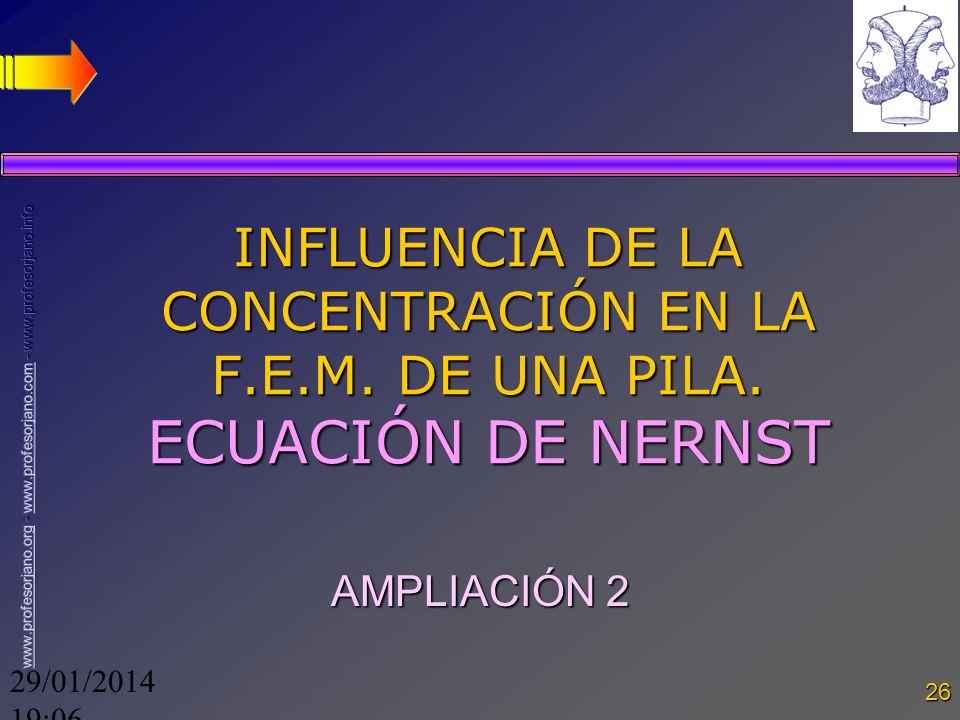 29/01/2014 19:08 26 INFLUENCIA DE LA CONCENTRACIÓN EN LA F.E.M. DE UNA PILA. ECUACIÓN DE NERNST AMPLIACIÓN 2