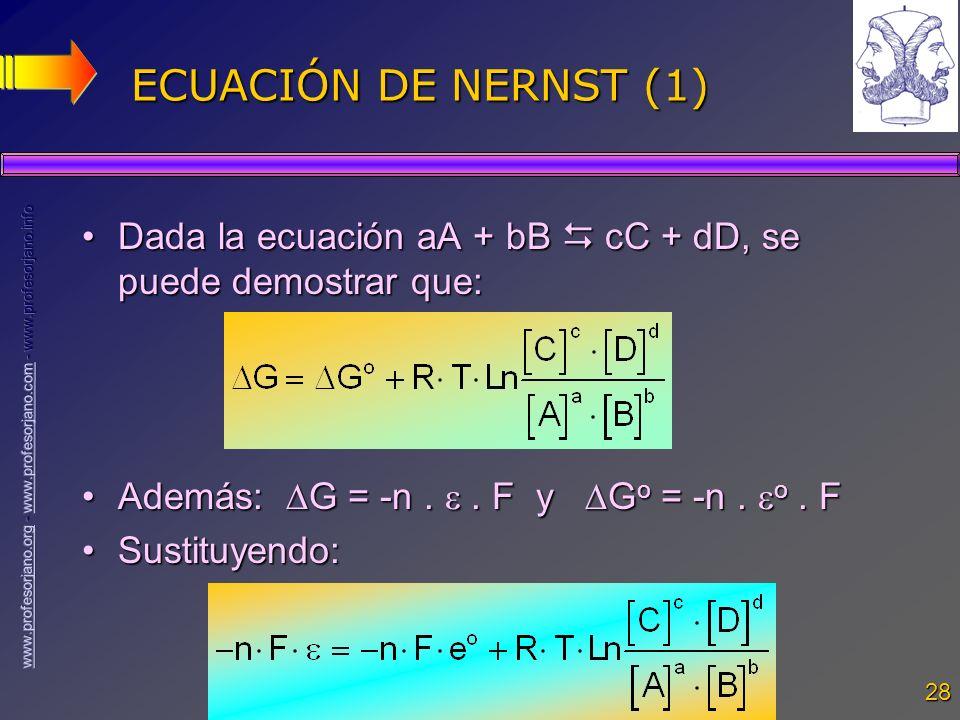28 ECUACIÓN DE NERNST (1) Dada la ecuación aA + bB cC + dD, se puede demostrar que:Dada la ecuación aA + bB cC + dD, se puede demostrar que: Además: G