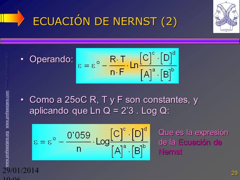 29/01/2014 19:08 29 ECUACIÓN DE NERNST (2) Operando:Operando: Como a 25oC R, T y F son constantes, y aplicando que Ln Q = 23. Log Q:Como a 25oC R, T y