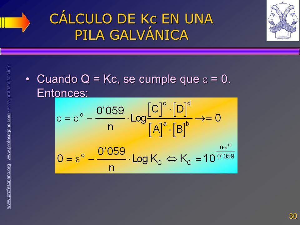 30 CÁLCULO DE Kc EN UNA PILA GALVÁNICA Cuando Q = Kc, se cumple que = 0. Entonces:Cuando Q = Kc, se cumple que = 0. Entonces:
