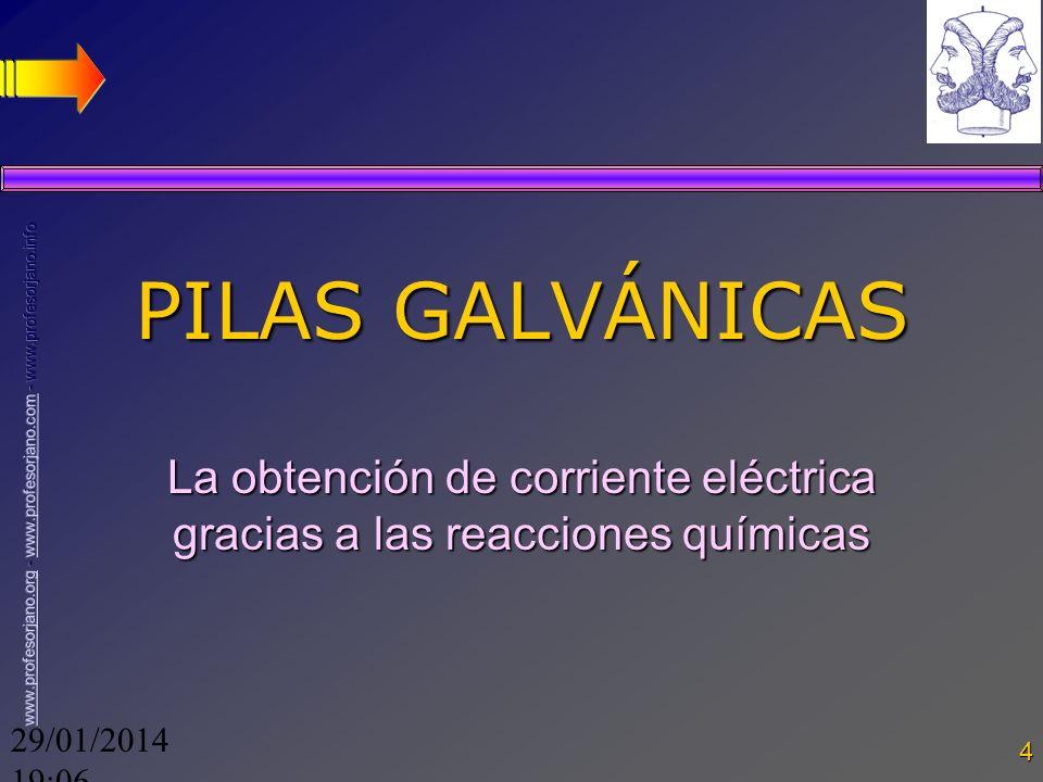 29/01/2014 19:08 4 PILAS GALVÁNICAS La obtención de corriente eléctrica gracias a las reacciones químicas