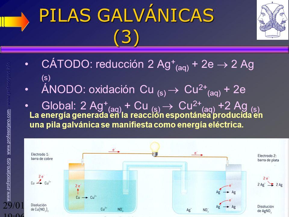 29/01/2014 19:08 7 PILAS GALVÁNICAS (3) CÁTODO: reducción 2 Ag + (aq) + 2e 2 Ag (s) ÁNODO: oxidación Cu (s) Cu 2+ (aq) + 2e Global: 2 Ag + (aq) + Cu (