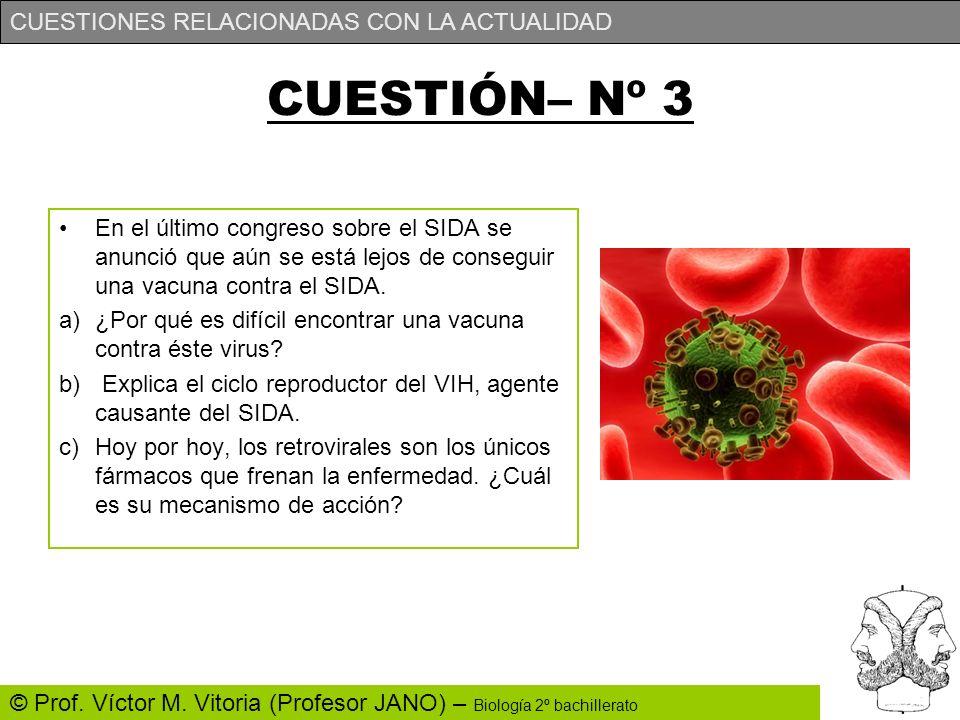 CUESTIONES RELACIONADAS CON LA ACTUALIDAD © Prof. Víctor M. Vitoria (Profesor JANO) – Biología 2º bachillerato CUESTIÓN– Nº 3 En el último congreso so