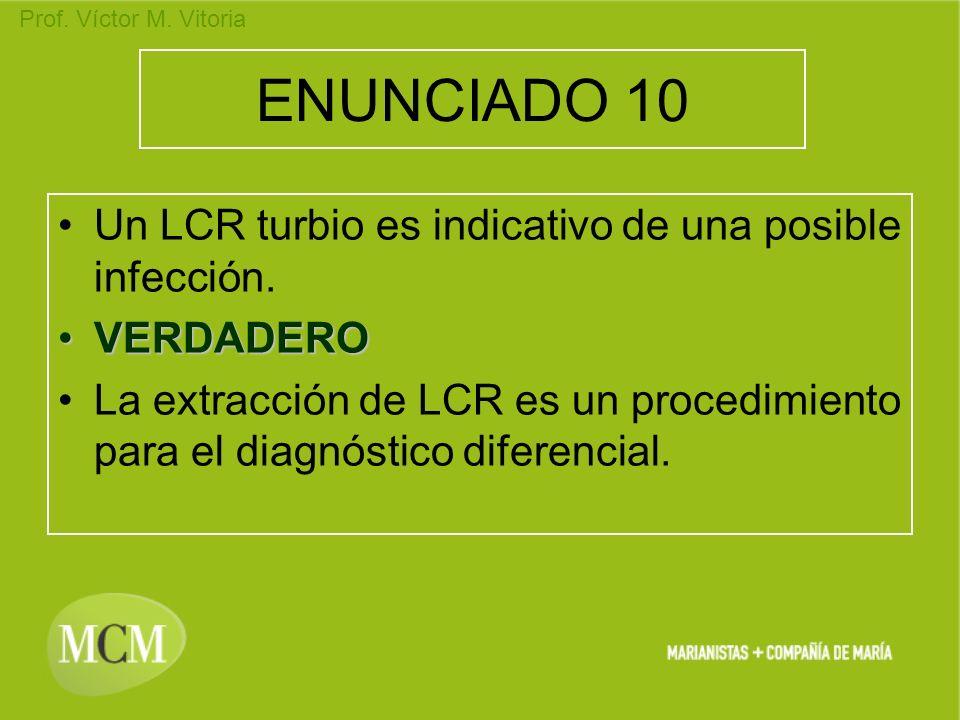Prof. Víctor M. Vitoria ENUNCIADO 10 Un LCR turbio es indicativo de una posible infección. VERDADEROVERDADERO La extracción de LCR es un procedimiento