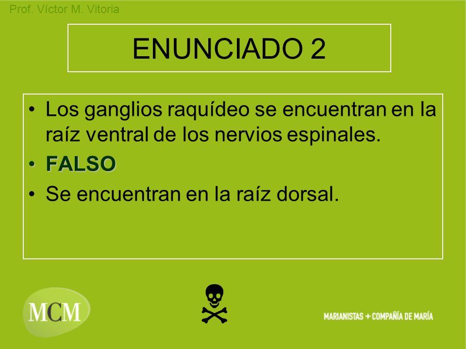 Prof. Víctor M. Vitoria ENUNCIADO 2 Los ganglios raquídeo se encuentran en la raíz ventral de los nervios espinales. FALSOFALSO Se encuentran en la ra