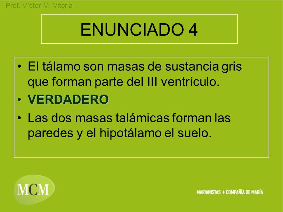 Prof. Víctor M. Vitoria ENUNCIADO 4 El tálamo son masas de sustancia gris que forman parte del III ventrículo. VERDADEROVERDADERO Las dos masas talámi