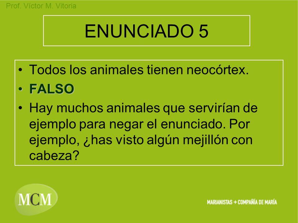 Prof. Víctor M. Vitoria ENUNCIADO 5 Todos los animales tienen neocórtex. FALSOFALSO Hay muchos animales que servirían de ejemplo para negar el enuncia