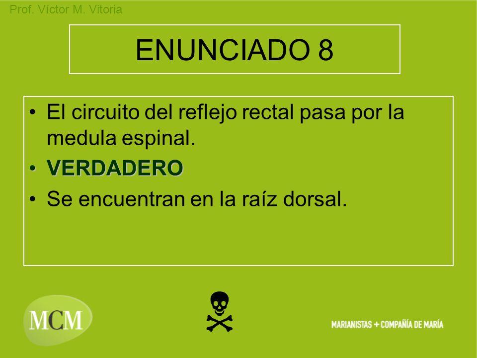 Prof. Víctor M. Vitoria ENUNCIADO 8 El circuito del reflejo rectal pasa por la medula espinal. VERDADEROVERDADERO Se encuentran en la raíz dorsal.