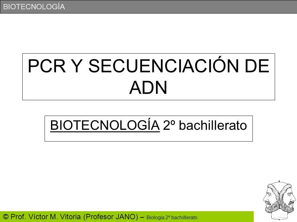 BIOTECNOLOGÍA © Prof. Víctor M. Vitoria (Profesor JANO) – Biología 2º bachillerato PCR Y SECUENCIACIÓN DE ADN BIOTECNOLOGÍA 2º bachillerato
