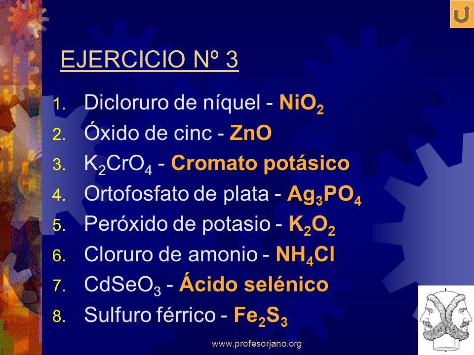 www.profesorjano.org EJERCICIO Nº 3 NiO 2 1. Dicloruro de níquel - NiO 2 ZnO 2. Óxido de cinc - ZnO Cromato potásico 3. K 2 CrO 4 - Cromato potásico A