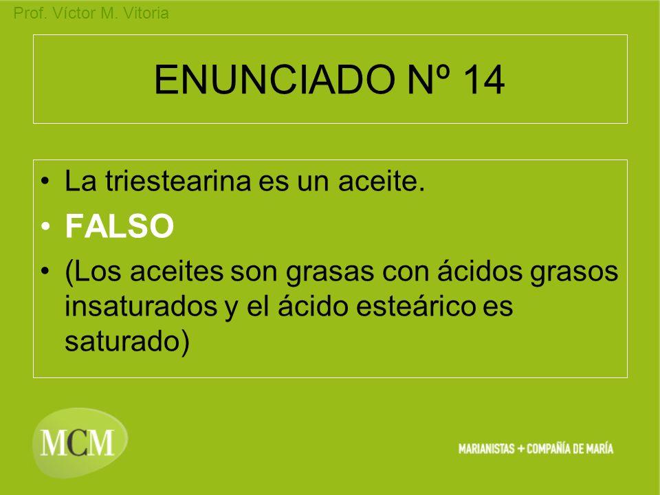 Prof. Víctor M. Vitoria ENUNCIADO Nº 14 La triestearina es un aceite. FALSO (Los aceites son grasas con ácidos grasos insaturados y el ácido esteárico