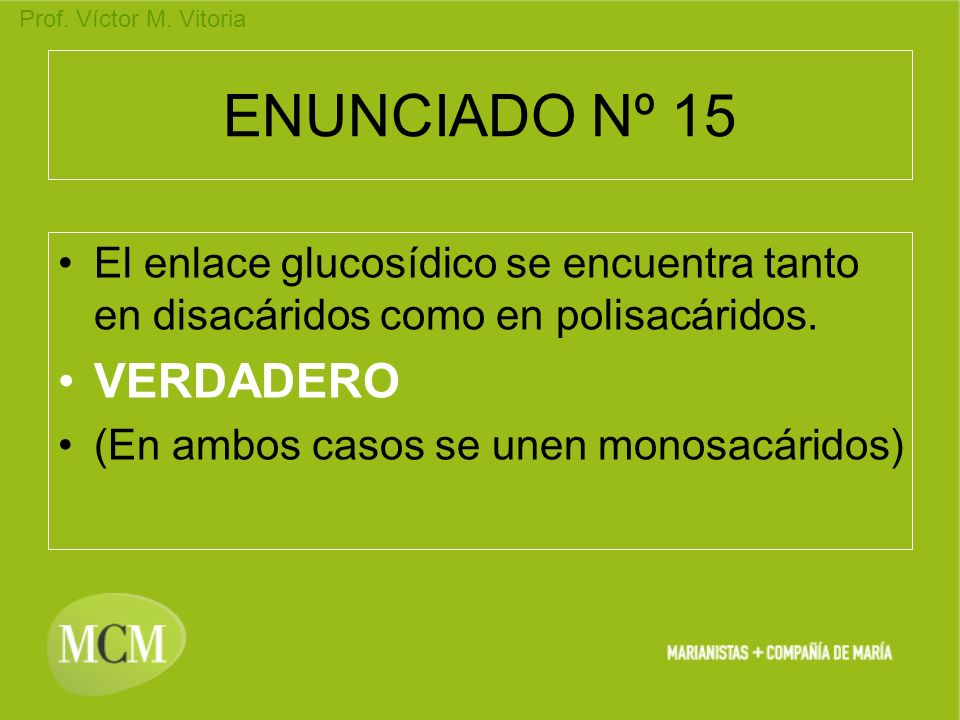 Prof. Víctor M. Vitoria ENUNCIADO Nº 15 El enlace glucosídico se encuentra tanto en disacáridos como en polisacáridos. VERDADERO (En ambos casos se un