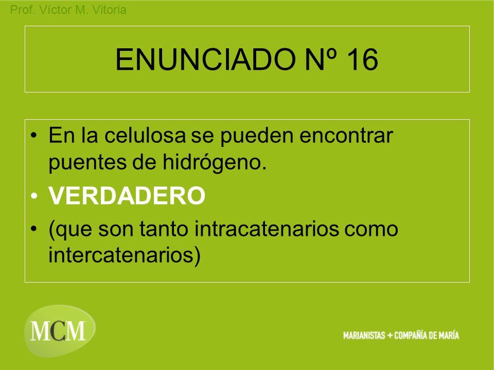 Prof. Víctor M. Vitoria ENUNCIADO Nº 16 En la celulosa se pueden encontrar puentes de hidrógeno. VERDADERO (que son tanto intracatenarios como interca