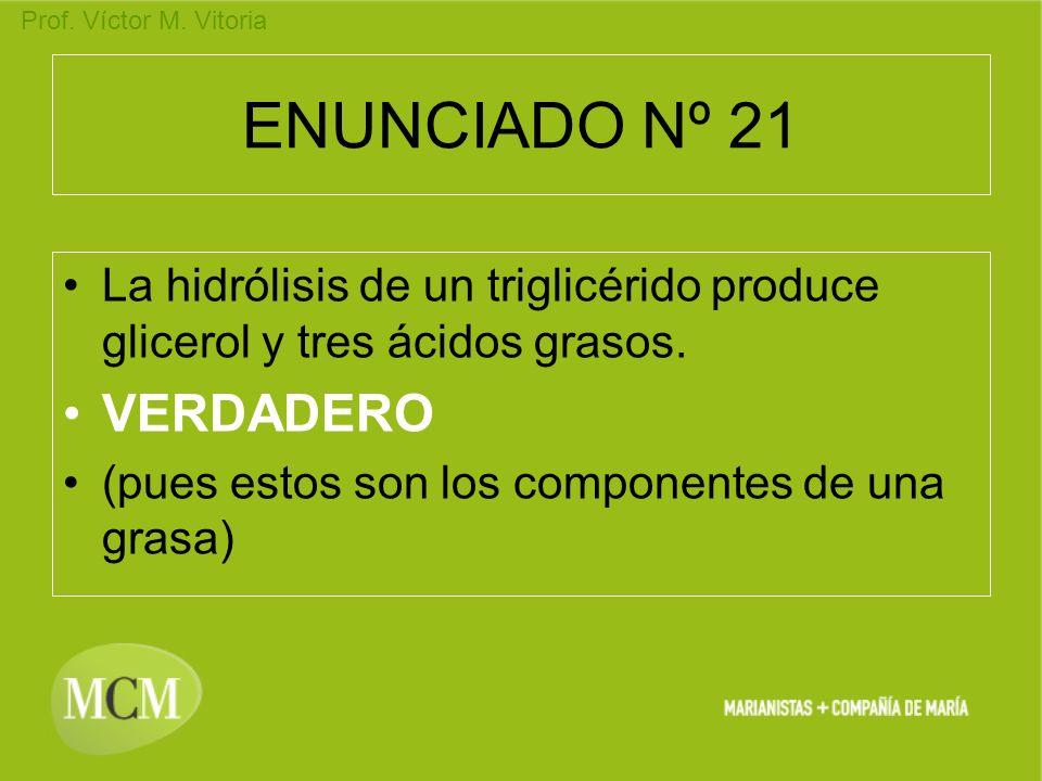 Prof. Víctor M. Vitoria ENUNCIADO Nº 21 La hidrólisis de un triglicérido produce glicerol y tres ácidos grasos. VERDADERO (pues estos son los componen