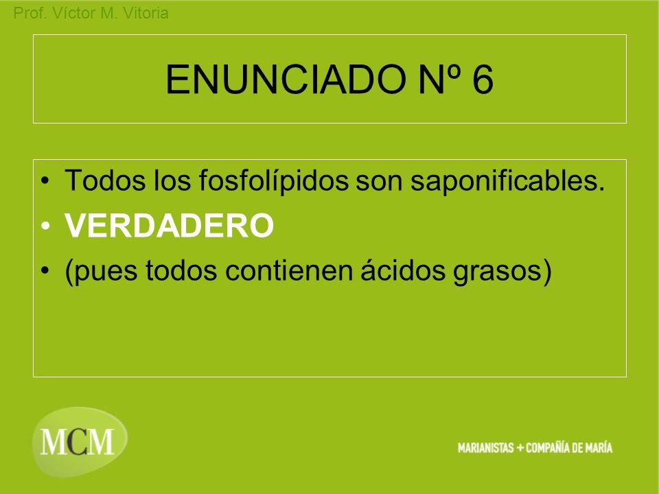 Prof. Víctor M. Vitoria ENUNCIADO Nº 6 Todos los fosfolípidos son saponificables. VERDADERO (pues todos contienen ácidos grasos)