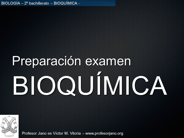 Profesor Jano es Víctor M. Vitoria – www.profesorjano.org BIOLOGÍA – 2º bachillerato – BIOQUÍMICA - BIOQUÍMICA Preparación examen