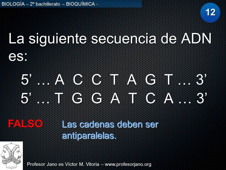 Profesor Jano es Víctor M. Vitoria – www.profesorjano.org BIOLOGÍA – 2º bachillerato – BIOQUÍMICA - La siguiente secuencia de ADN es: 12 5 … A C C T A