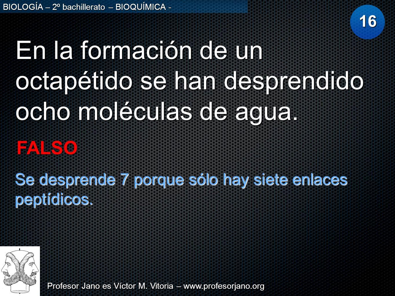Profesor Jano es Víctor M. Vitoria – www.profesorjano.org BIOLOGÍA – 2º bachillerato – BIOQUÍMICA - En la formación de un octapétido se han desprendid