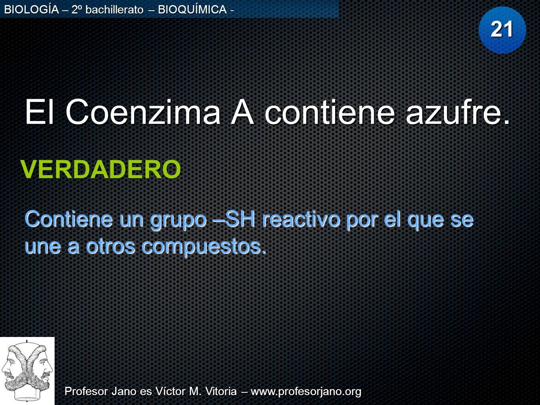 Profesor Jano es Víctor M. Vitoria – www.profesorjano.org BIOLOGÍA – 2º bachillerato – BIOQUÍMICA - El Coenzima A contiene azufre. 21 VERDADERO Contie