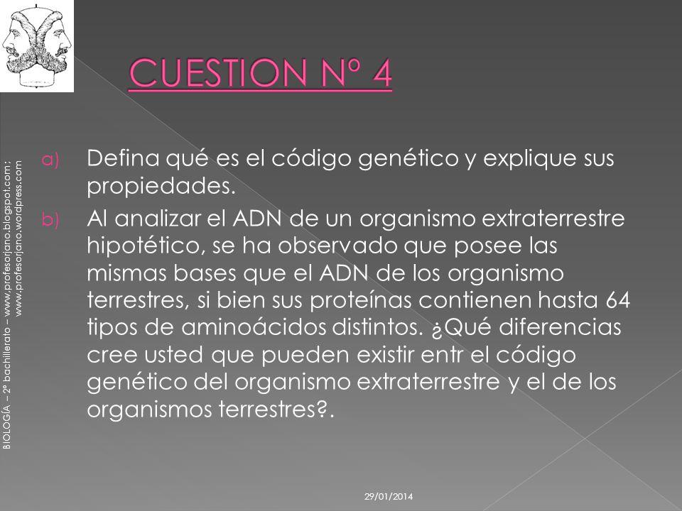 BIOLOGÍA – 2º bachillerato – www,profesorjano.blogspot.com ; www.profesorjano.wordpress.com 29/01/2014 a) Defina qué es el código genético y explique